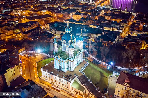 istock Aerial view of St Andrew's Church in Kyiv 1347216946
