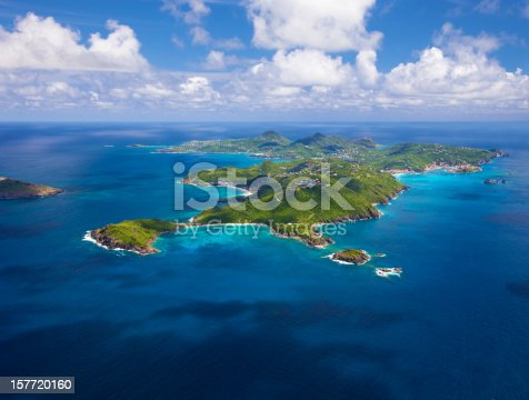 aerial view of St. Barths, French West Indies from west to east side of the island, taken from a light aircraft