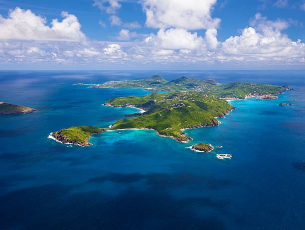 aerial view of St. Barths, French West Indies stock photo