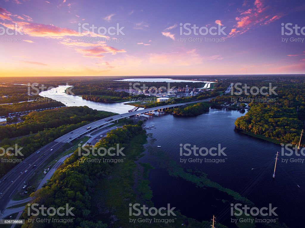 Aerial view of St. Johns River in Florida stock photo