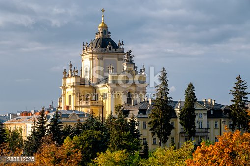 istock Aerial view of St. Jura St. George s Cathedral church in town Lviv, Ukraine. Building, holy. 1283812025