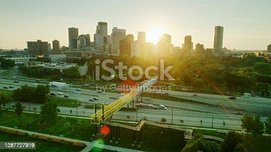 istock Aerial View of St Marys Basilica, Irene Hixon Whitney Bridge, Loring Park and Downtown Minneapolis at Sunrise 1287727919