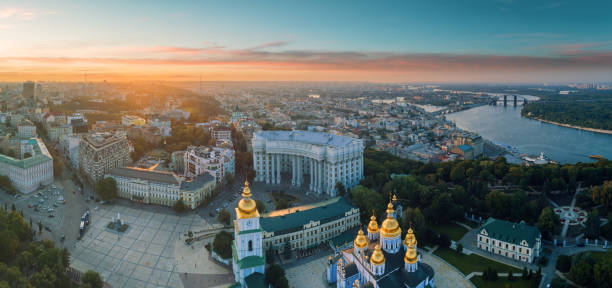 Aerial view of St. Michael's Golden-Domed Monastery in Kiev stock photo