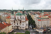 Prague, Czech Republic-June 25, 2013: Aerial View of St Nicholos Church in Old Town Square.