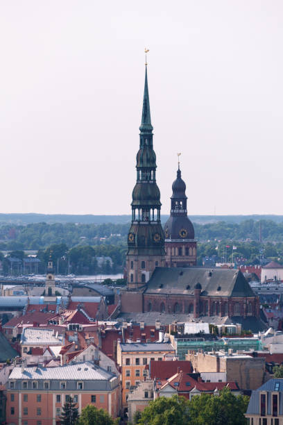 Aerial view of St. Peter's Church & Riga Cathedral stock photo
