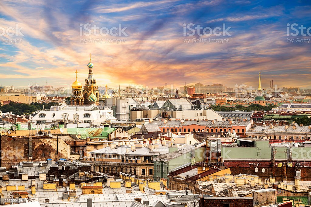 Aerial view of St Petersburg, Russia stock photo