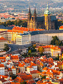 istock Aerial view of St Vitus Cathedral and Castle in Prague 626012056
