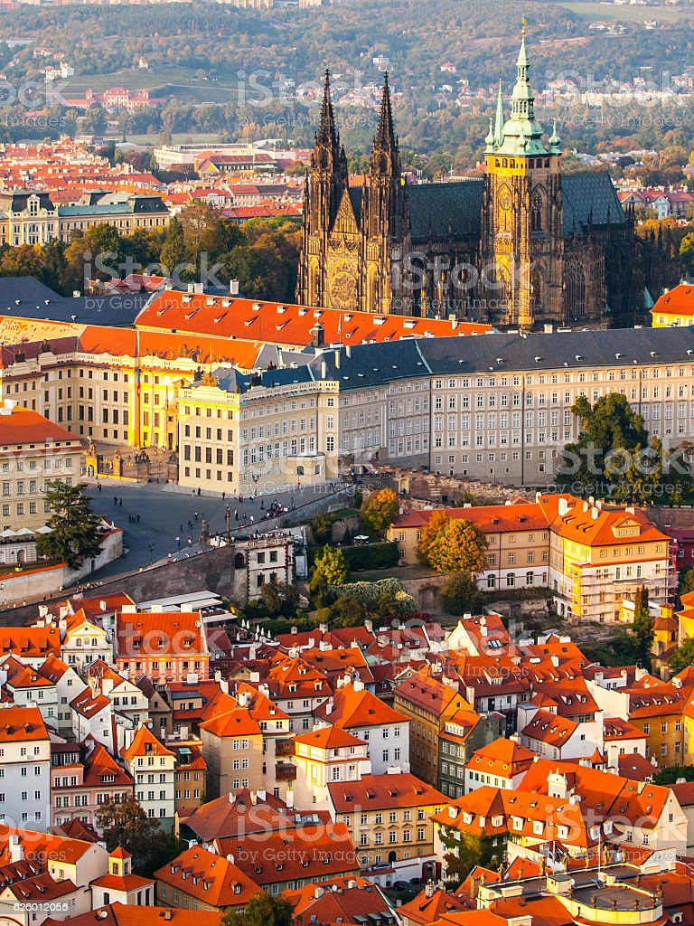 Aerial view of St Vitus Cathedral and Castle in Prague stock photo