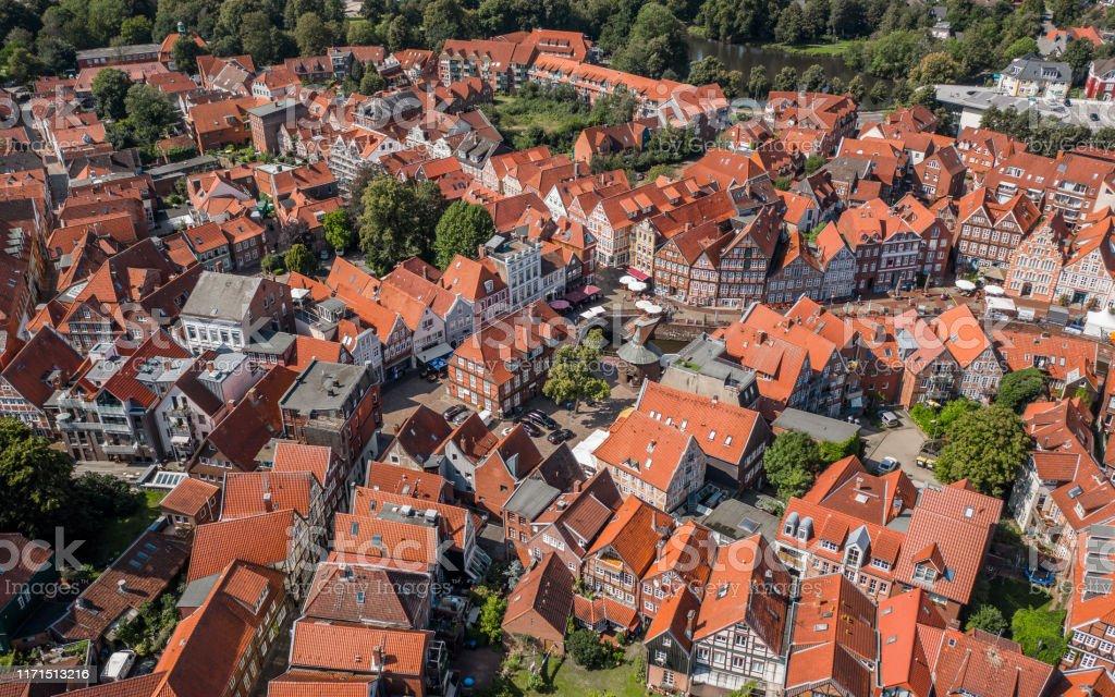 Luftaufnahme von Stade - Lizenzfrei Außenaufnahme von Gebäuden Stock-Foto
