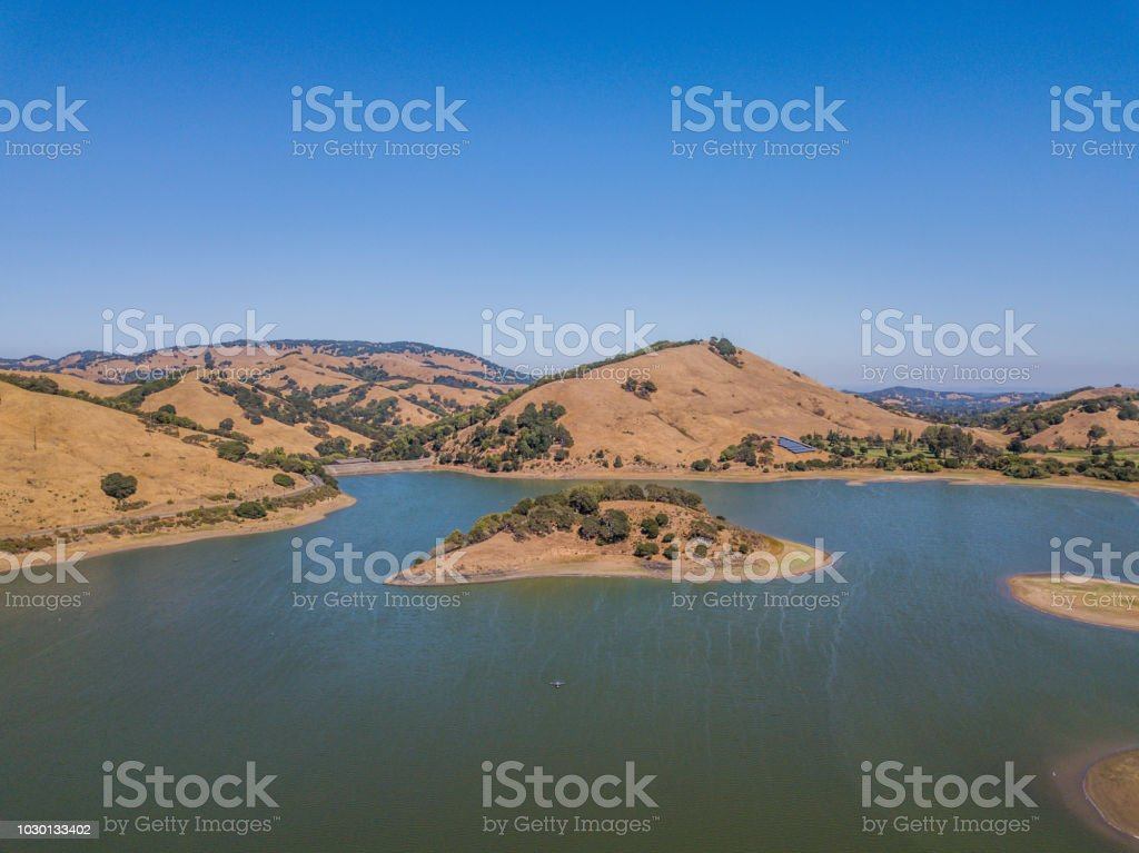 Aerial View of Stafford Lake stock photo
