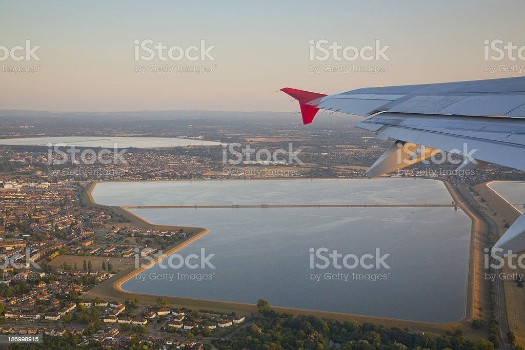 Aerial View of Staines Reservoir near London Heathrow airport stock photo