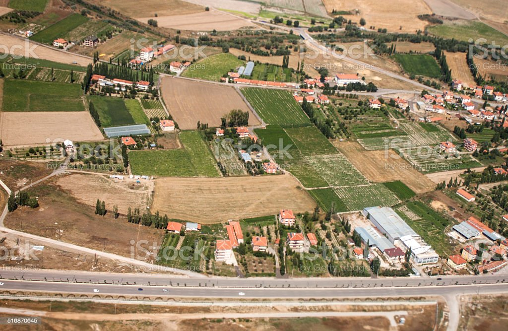 Aerial view of İstanbul village and fields landscape stock photo