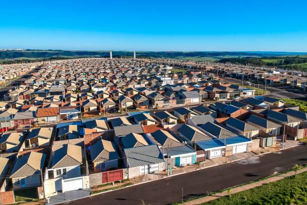 Aerial view of standardized houses of the Minha Casa Minha Vida Program of the State of Sao Paulo, Brazil stock photo