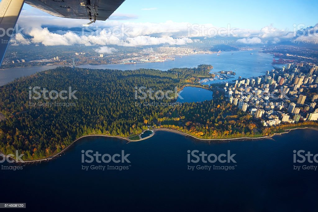 Aerial View of Stanley Park and Vancouver stock photo