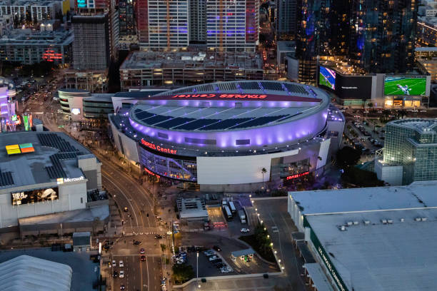 Aerial view of Staples Center in downtown Los Angeles stock photo
