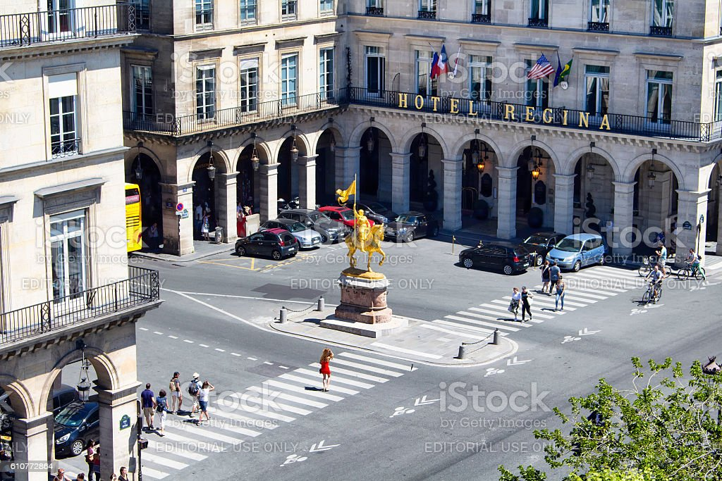 Aerial view of statue Jeanne D'Arc stock photo