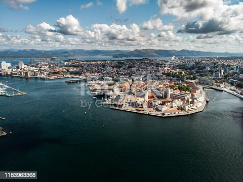 Aerial view of Stavanger downtown in Norway