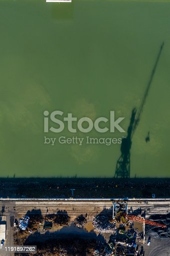 drone view, steel factory,