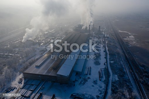 drone view, steel factory, 4K Resolution