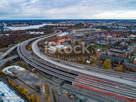 Aerial view of multiple lanes in Stockholm
