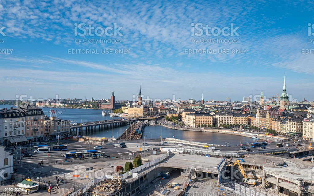 Aerial view of Stockholm stock photo