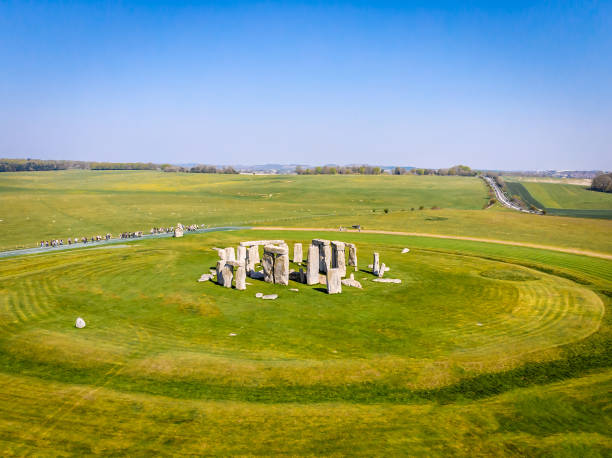 Aerial view of Stonehenge in summer, England stock photo