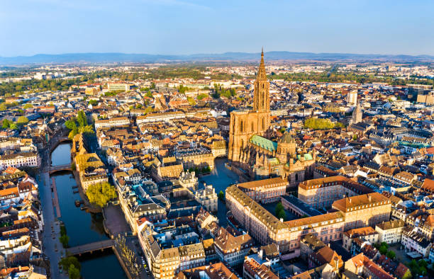 Aerial view of Strasbourg Cathedral in Alsace, France Aerial view of the Notre-Dame Cathedral of Strasbourg - Alsace, France strasbourg stock pictures, royalty-free photos & images