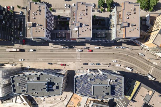 flygfoto över gatan - drone helsinki bildbanksfoton och bilder