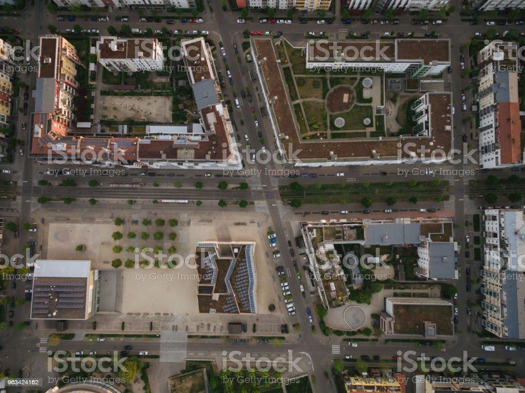 aerial view of streets of modern european city, Kyiv, Ukraine - Zbiór zdjęć royalty-free (Architektura)
