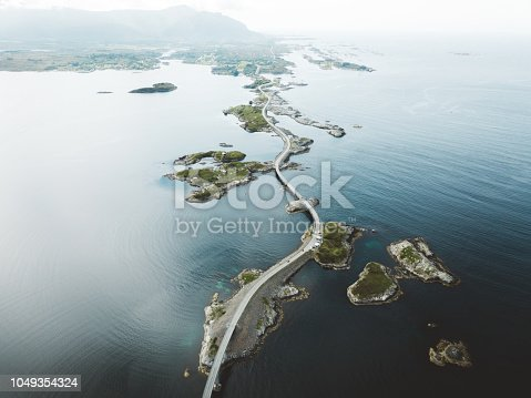 Drone photo of Atlantic road in Norway