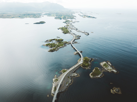 Drone photo of Atlantic road in Norway