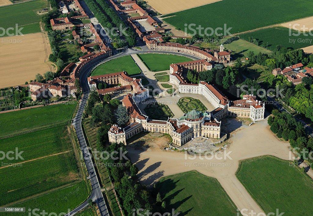Aerial view of Stupinigi Palace, Turin, Piedmont royalty-free stock photo