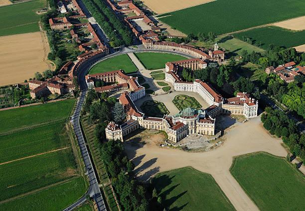 Aerial view of Stupinigi Palace, Turin, Piedmont stock photo