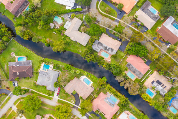 Aerial view of suburb, Miami, Florida, USA stock photo