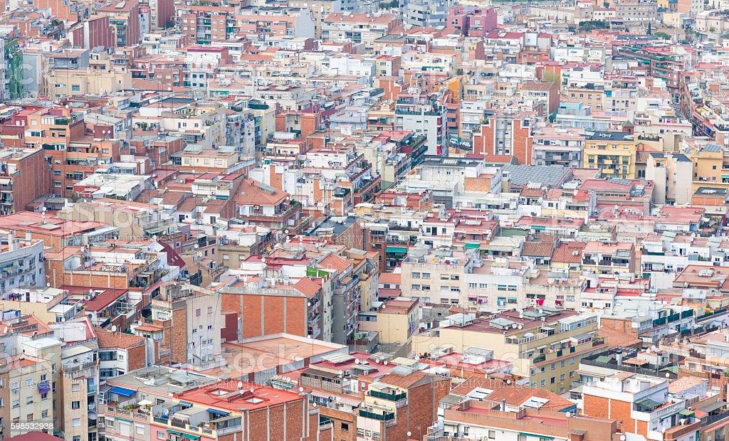 Aerial view of suburb of Barcelona photo libre de droits