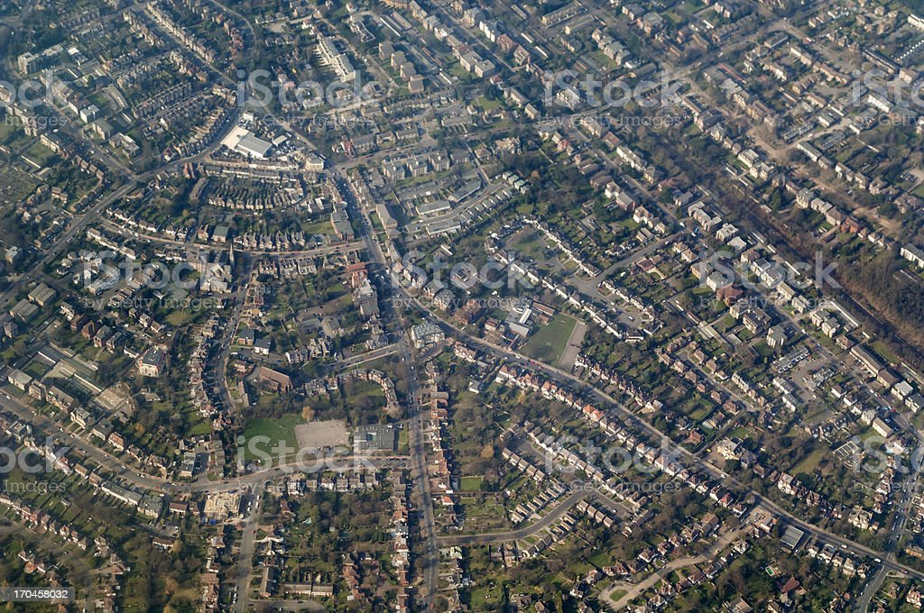 Aerial view of suburb of London stock photo