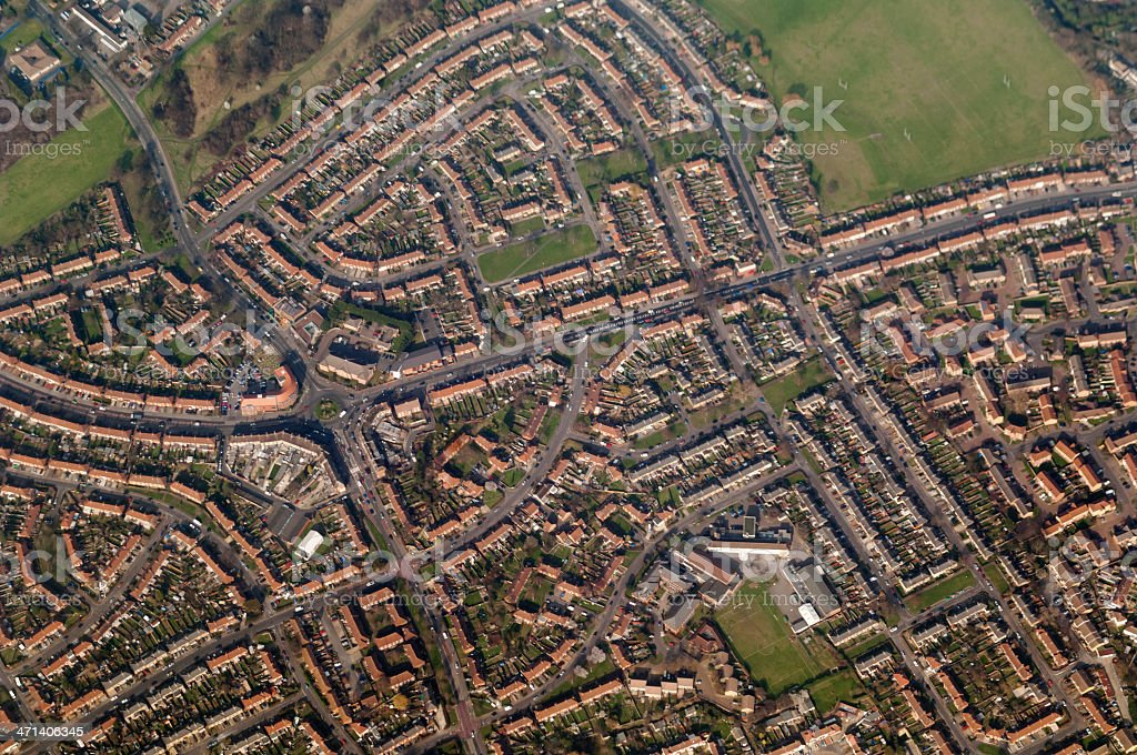 Aerial view of suburb streets, London England stock photo