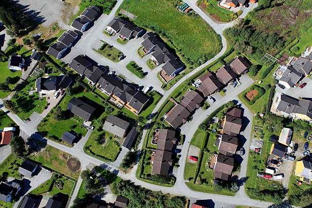 Aerial view of suburban housing development stock photo
