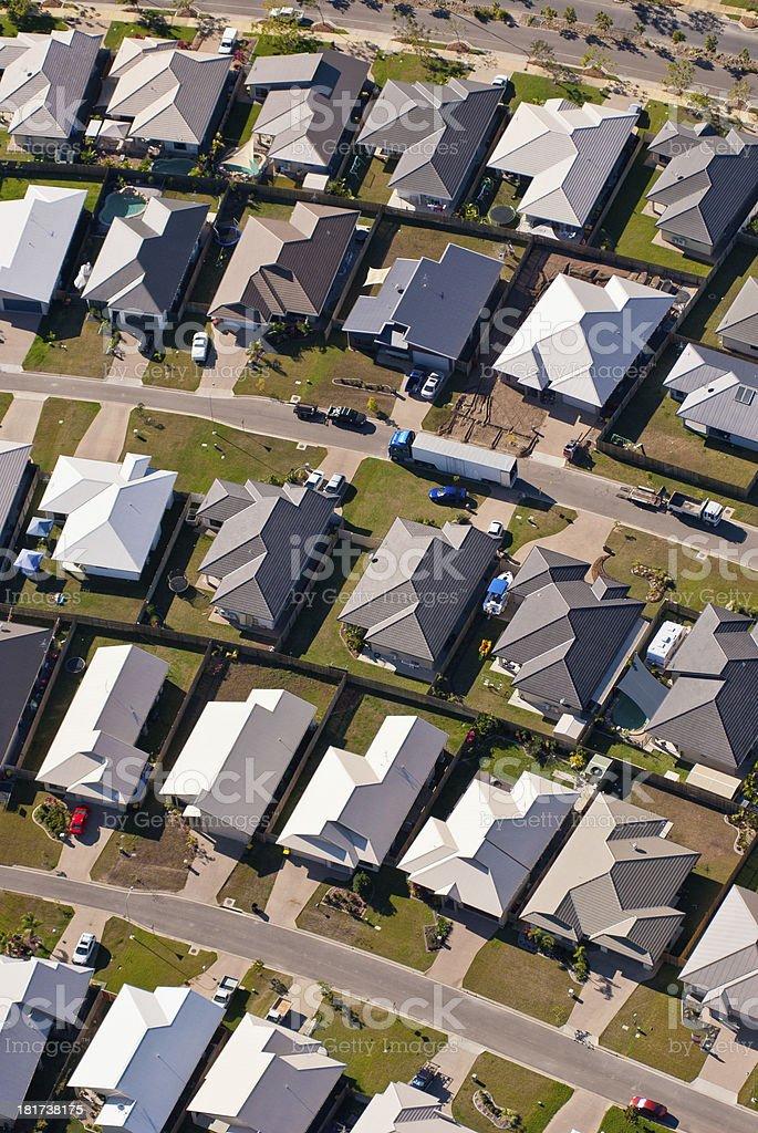 Aerial view of suburban housing stock photo