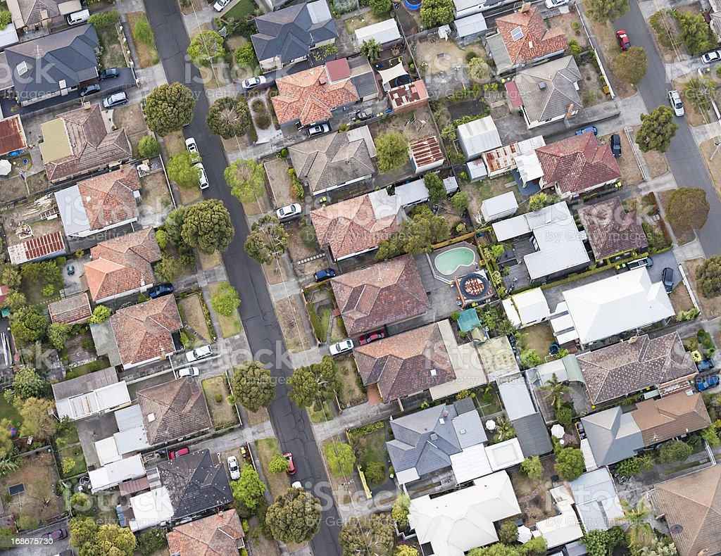 Aerial View of Suburban Melbourne Streets royalty-free stock photo