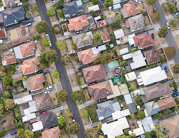 Aerial View of Suburban Melbourne Streets stock photo