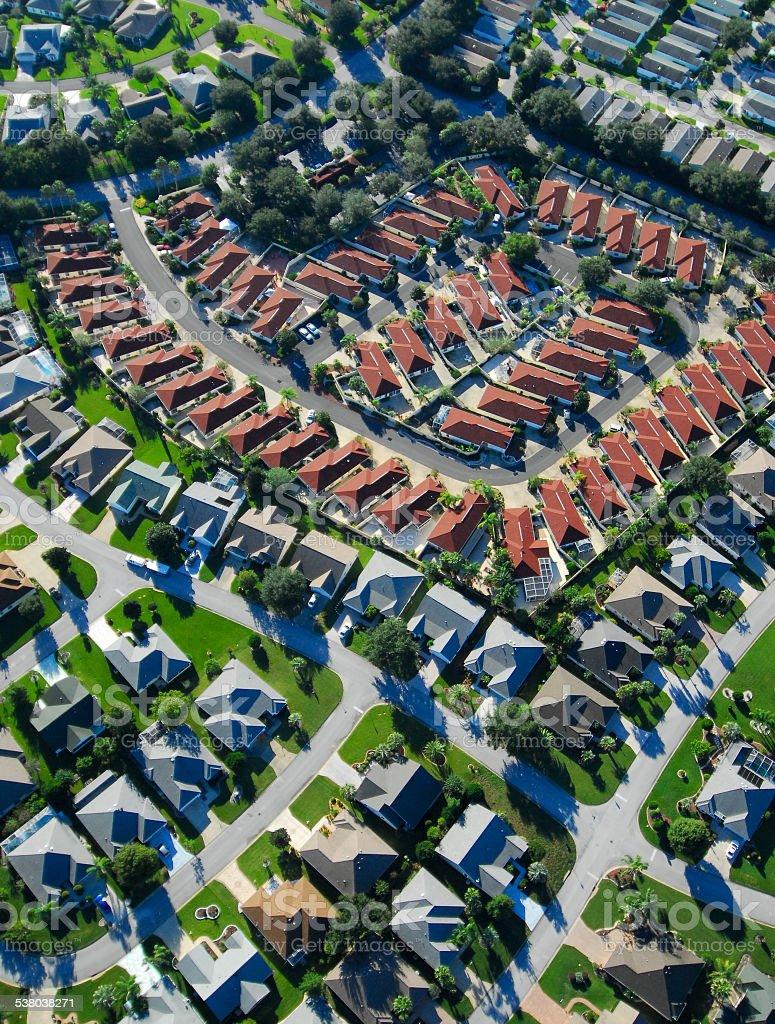 Aerial View Of Suburban Neighborhood Stock Photo