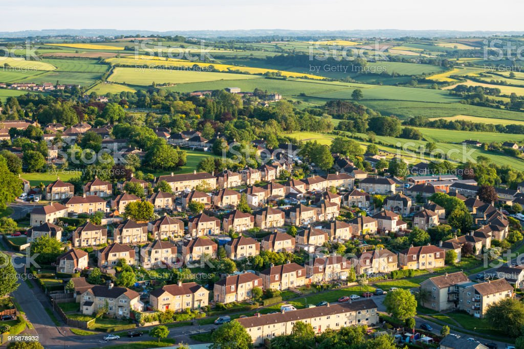Aerial view of suburban streets and fields stock photo