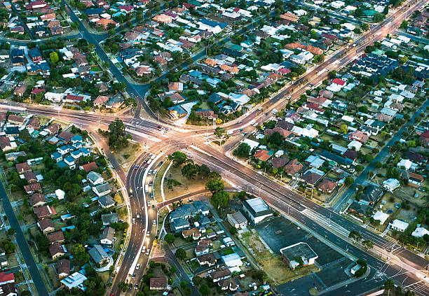 Aerial View of Suburban Streets stock photo