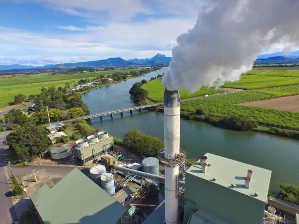 aerial view of sugar refinery - zuccherificio foto e immagini stock