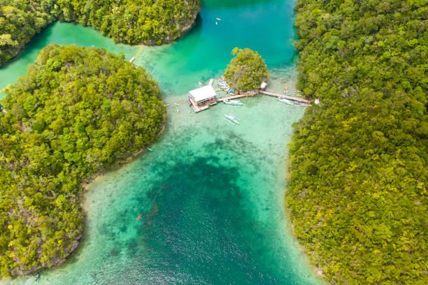 vista aérea da lagoa de sugba. paisagem bonita com a lagoa azul do mar, parque nacional, console de siargao, filipinas - laguna - fotografias e filmes do acervo