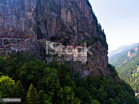 Aerial view of Sumela Monastery in Trabzon, Turkey.