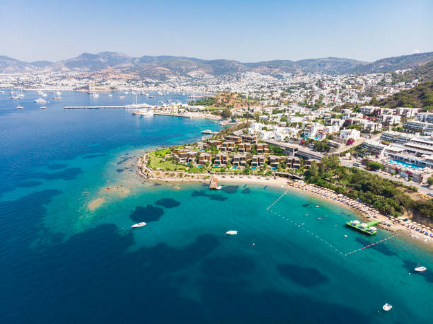 Aerial view of sunny Bodrum with resorts and beachfront villas stock photo