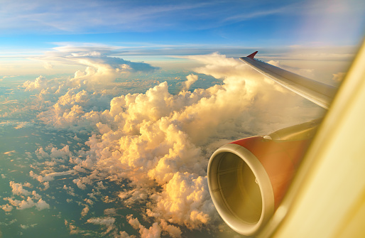 istock Aerial view of sunrise clouds from the sky 908111050