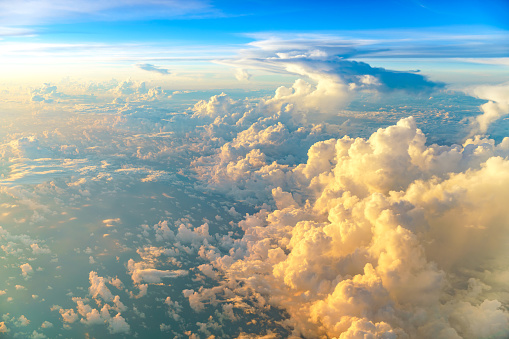 istock Aerial view of sunrise clouds from the sky 908111066